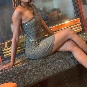 Bebe Glitter/ Sequined One Shoulder Dress